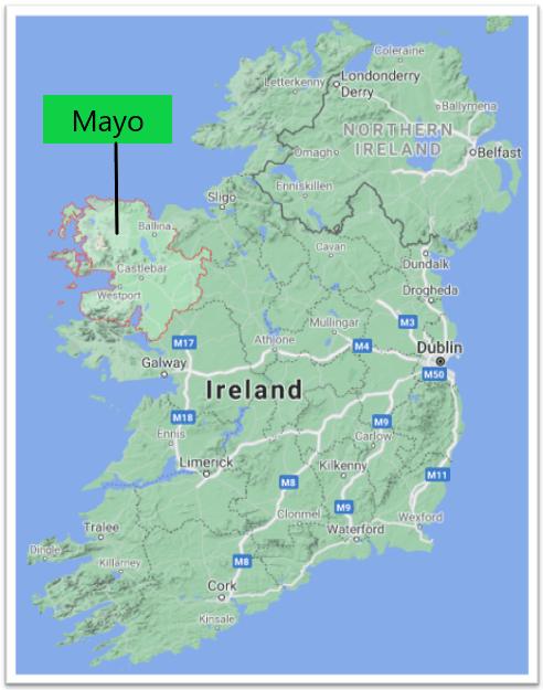Carte comté de Mayo Irlande