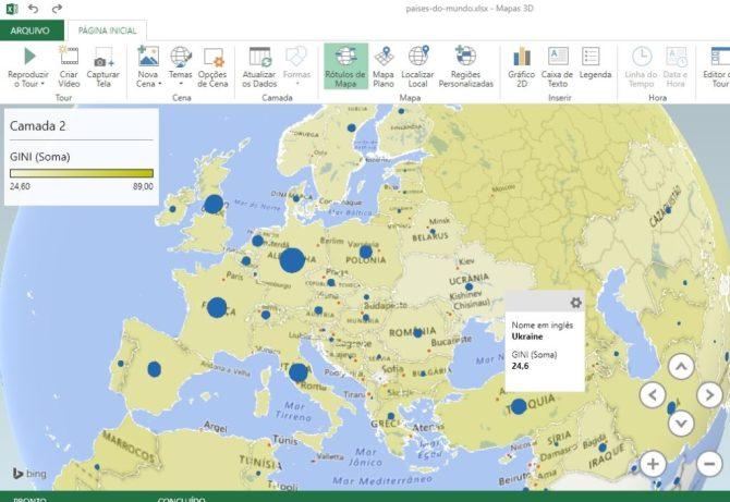 Mapa 3D em Excel