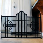 Metal art deco fireplace screen