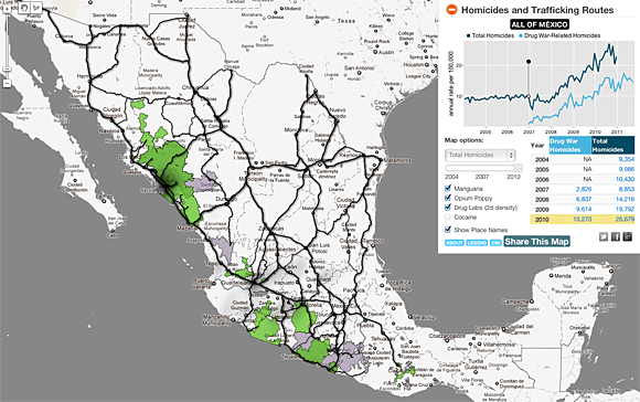 Map of the drug war in Mexico
