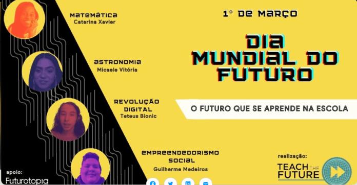 imagem de divulgação do dia mundial do futuro - o futuro que se aprende na escola