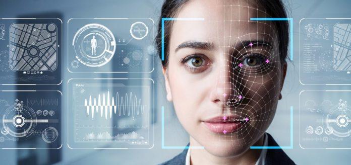 imagem ilustrativa simula a aplicação de reconhecimento facial sobre o rosto de uma mulher