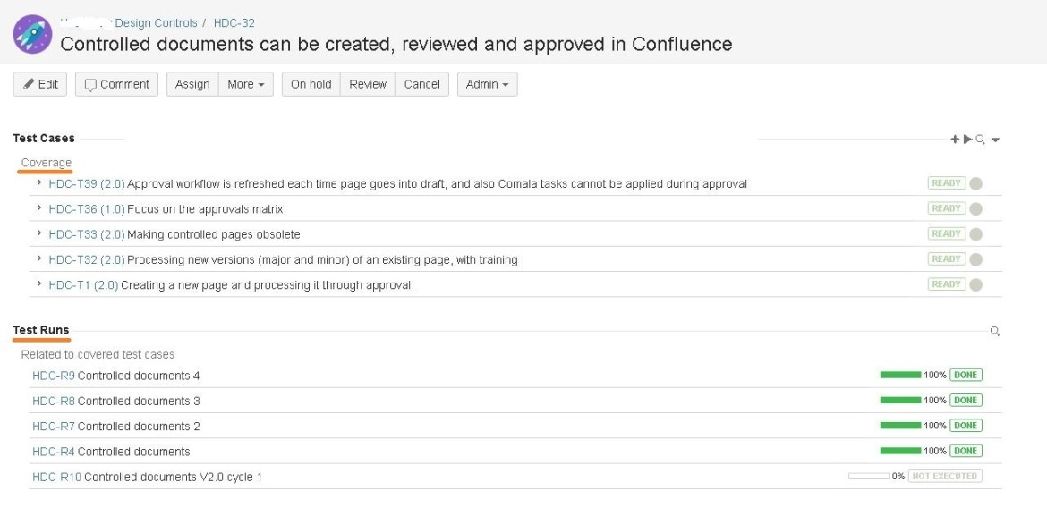Using Test Management for Jira, each requirement displays its test and test run coverage