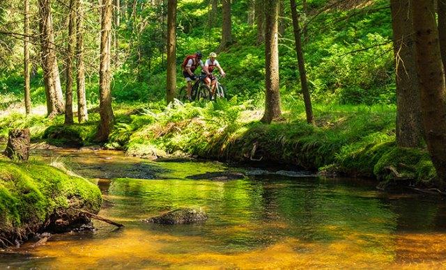 Zwei Mountainbiker neben einem Bach.