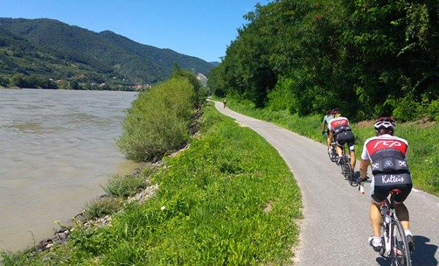 Radfahrer an der Donau.