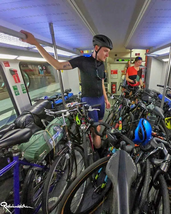 full train with bicycles