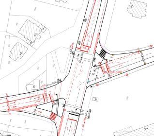 die aktuelle Planung im Kreuzungsbereich, der Radfahrer wird nicht mehr in die Nebenanlagen und damit aus dem Aufmerksamkeitsbereich der KFZ-Führer geleitet, sondern kann auf der Straße weiterfahren.