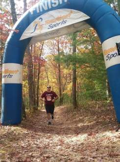 Phillip Krugel was one of the 200-plus runners to navigate trails at Pandapas Pond in Blacksburg as part of this year's Brush Mountain Breakdown. Krugel finished 38th in the 7-mile event.