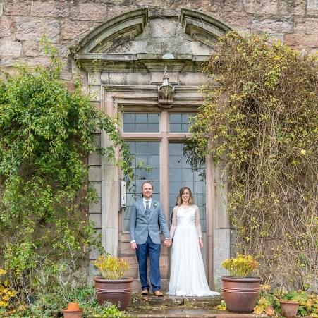 Bride and Groom portrait at Askham Hall