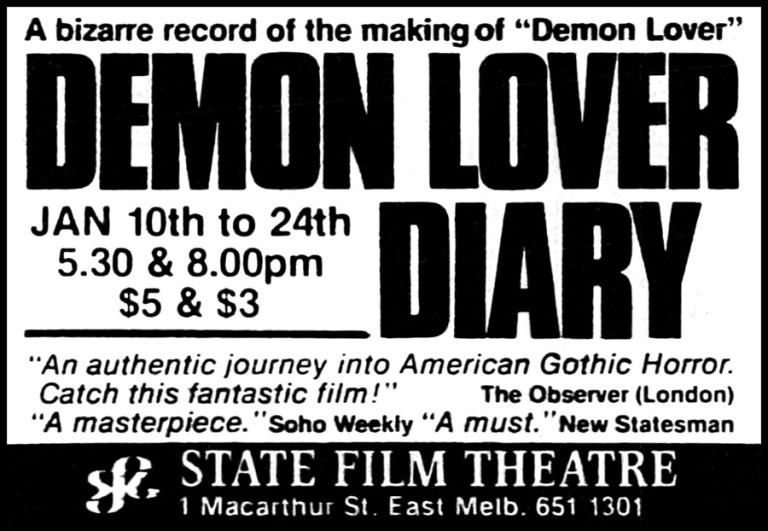 SCREEN DIARY: DEMON LOVER DIARY
