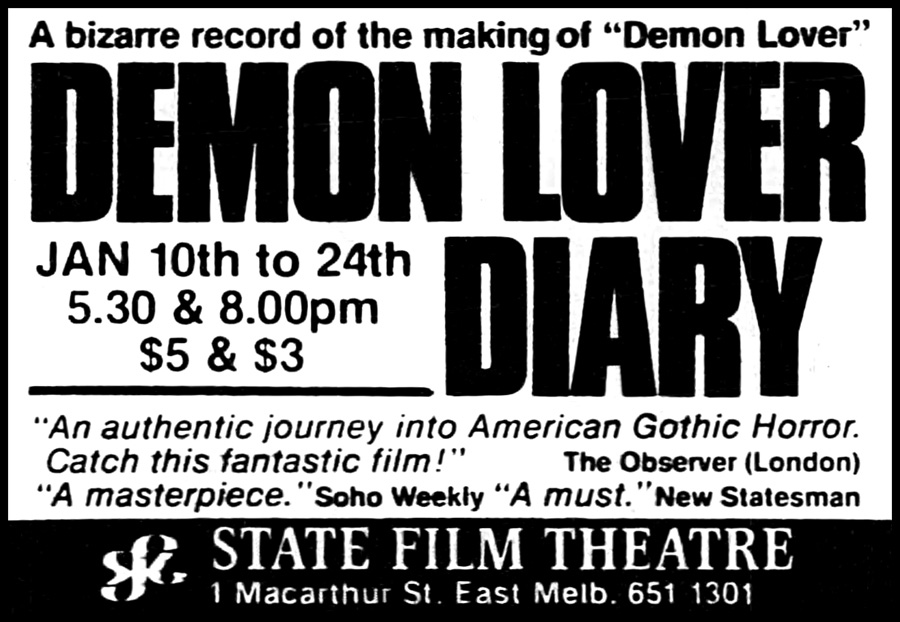 DEMON LOVER DIARY Revival Screening Newspaper Advertisement