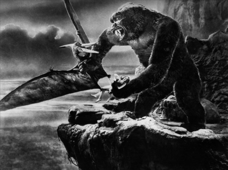 This is a film still from KING KONG (1933) which was projected 'live' from The Castle Cinema by Ciné-Real 16mm Film Club on 30 July 2020.