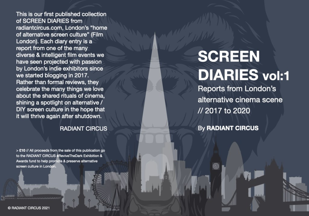 This is an image of the cover of a new e-book from RADIANT CIRCUS titled SCREEN DIARIES VOLUME 1.