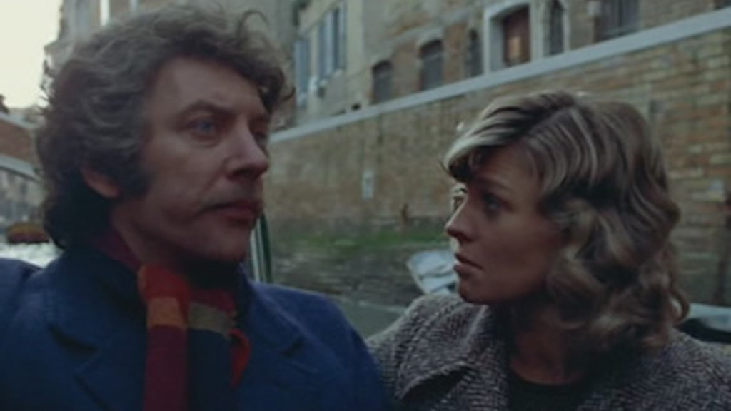 This is a film still from DON'T LOOK NOW, screening outdoors at Archlight Cinema (28 July 2021).