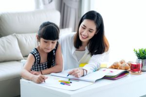 homeschooling mom and child