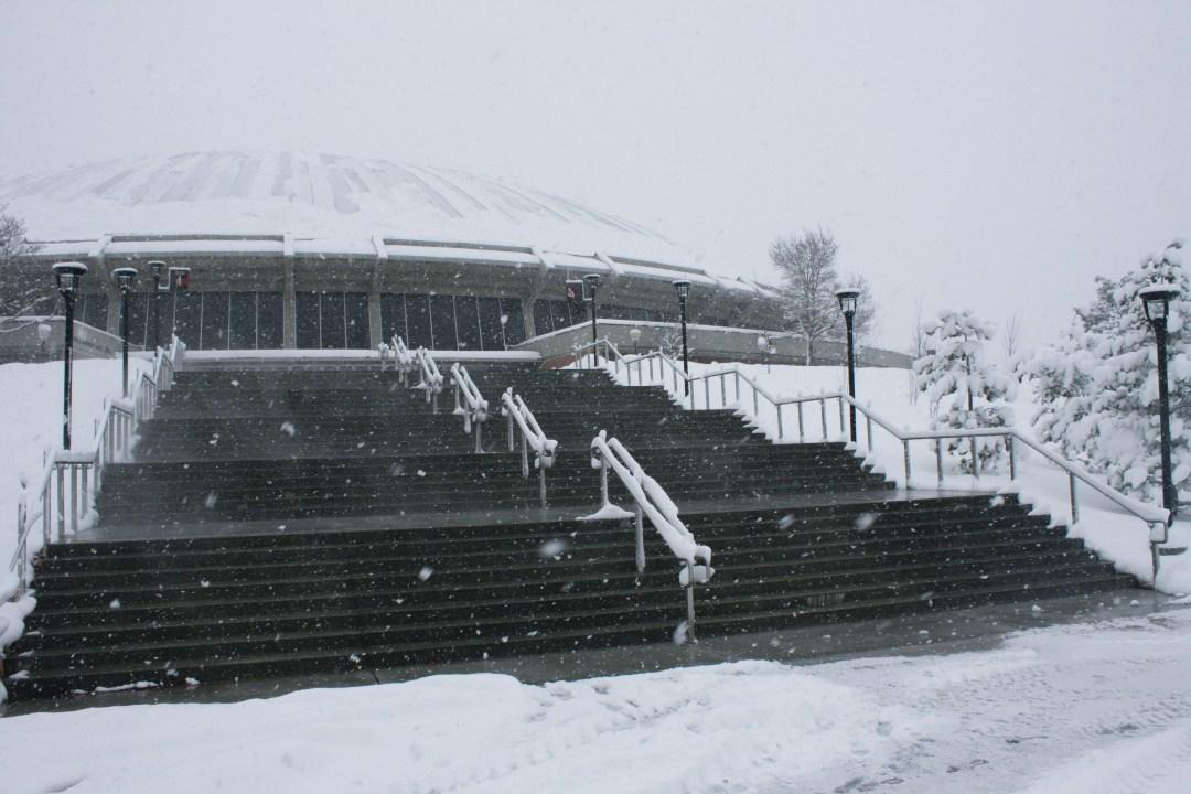 snow melting stairs university of utah