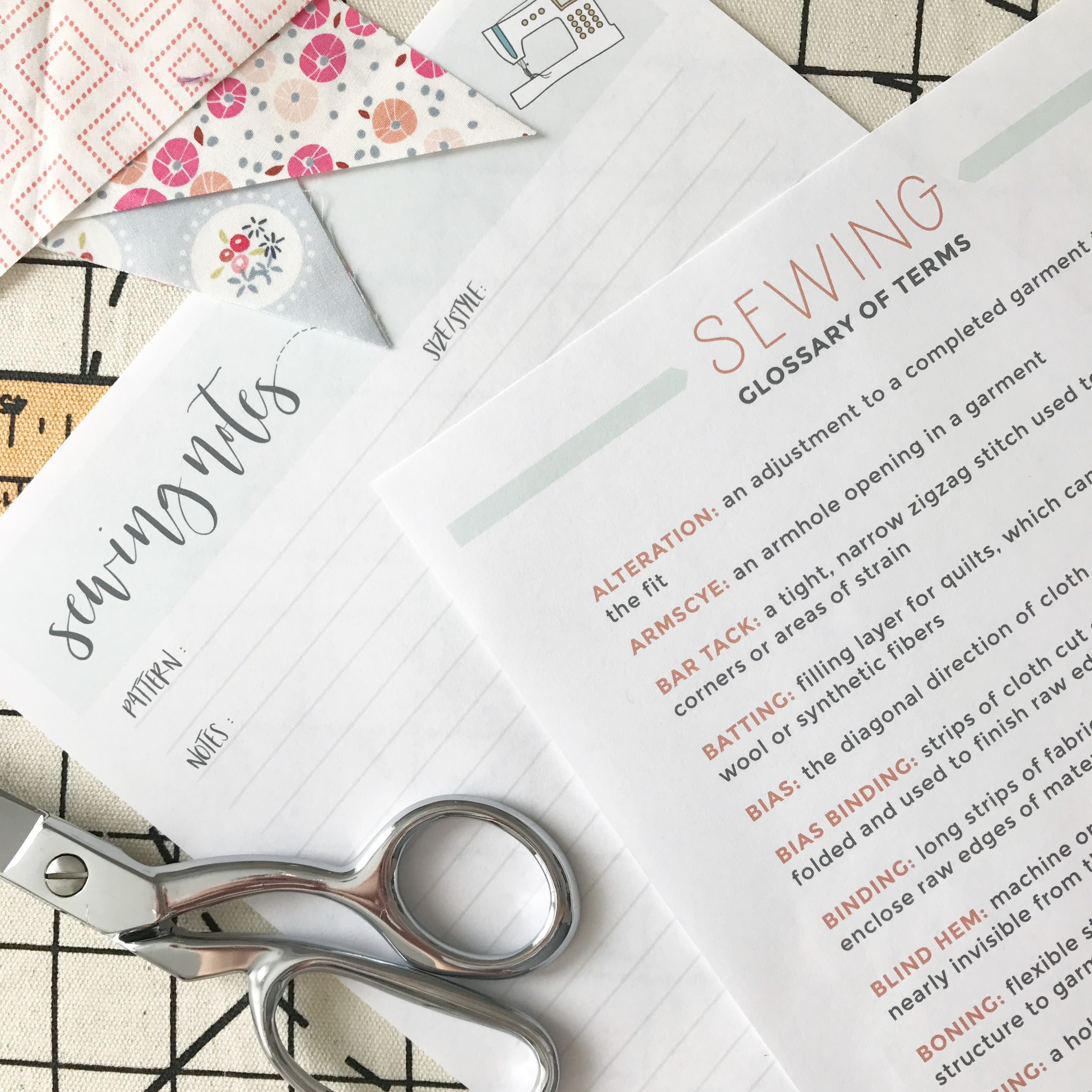 Free Downloads | Sewing Glossary of Terms | Radiant Home Studio