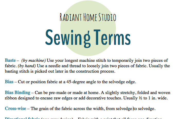 Sewing Terms | Radiant Home Studio
