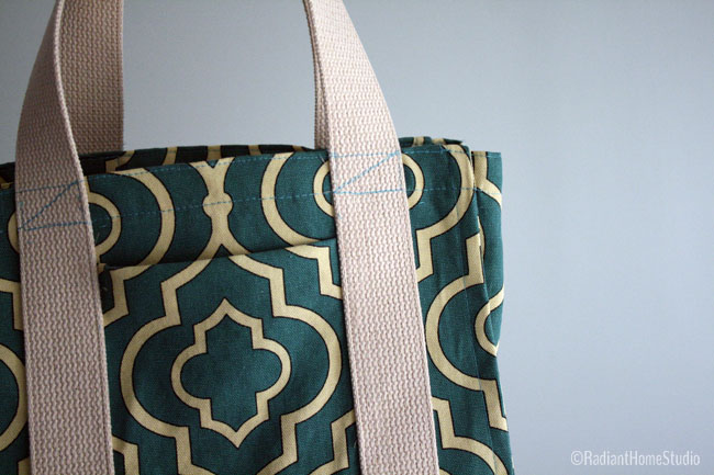 Teal Water Bottle Tote Close-up | Radiant Home Studio