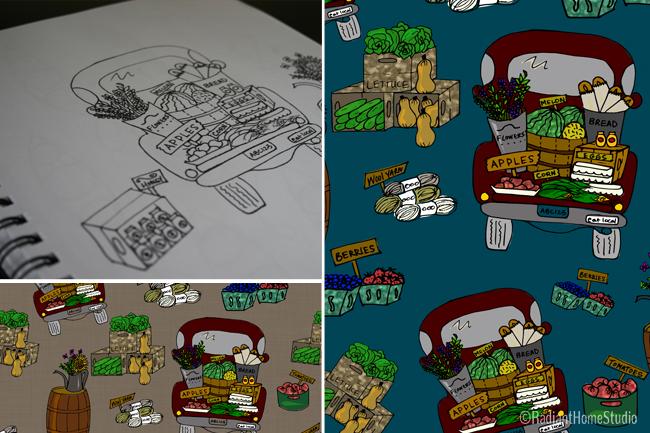 Sketch to Pattern | Far Trucks | Radiant Home Studio
