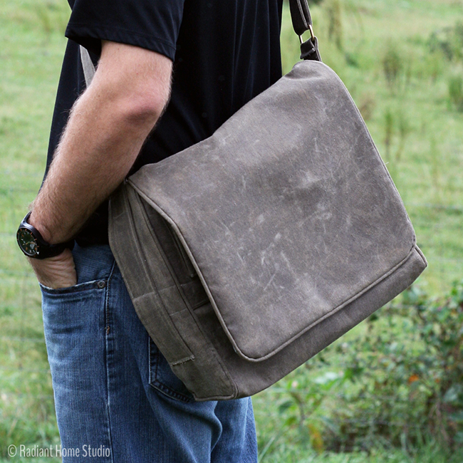 Men's Waxed Canvas Messenger Bag | Radiant Home Studio
