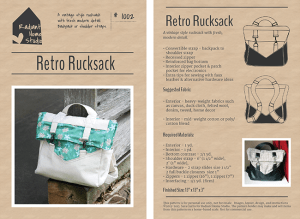 Retro Rucksack PDF Sewing Pattern | Radiant Home Studio
