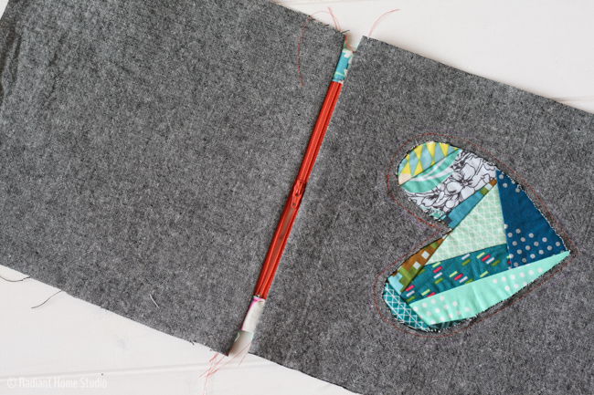 Patchwork Heart Zipper Pouch Tutorial | Radiant Home Studio