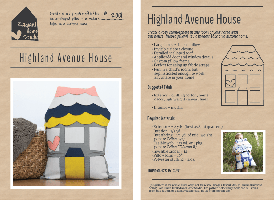 Highland Avenue House Pillow Pattern   Radiant Home Studio
