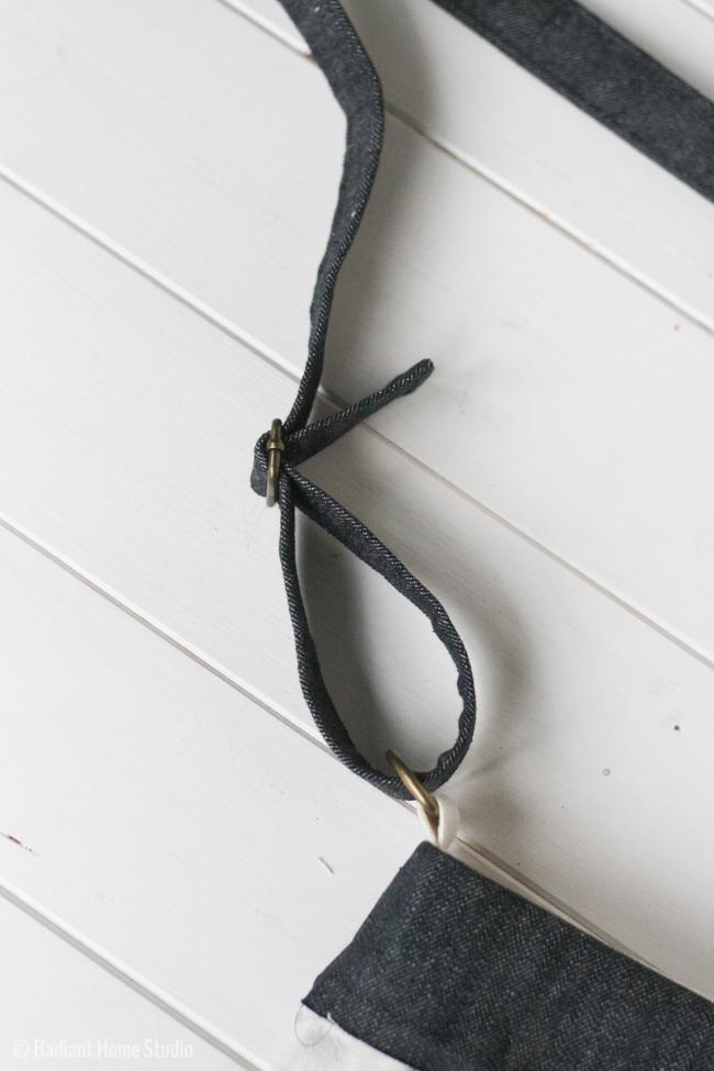 Denim Pocket with Grommets and Denim Shoulder Strap| Tote Bag Upgrade | Radiant Home Studio