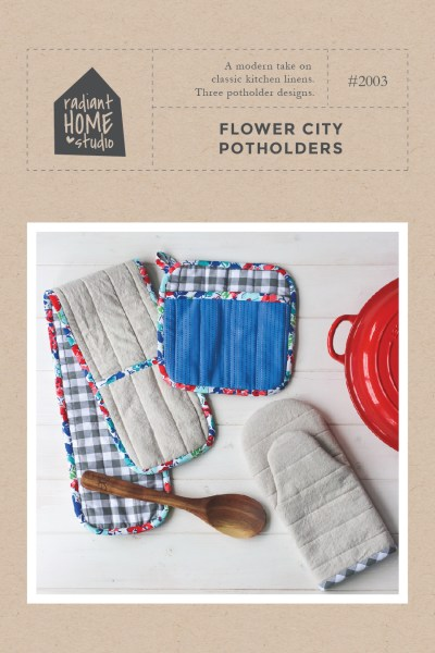 Flower City Potholders | Modern Potholder Sewing Pattern | DIY Hot Pads and Oven Mitt | Radiant Home Studio