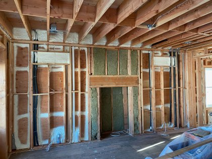 Air seal and Rockwool insulation in interior of home