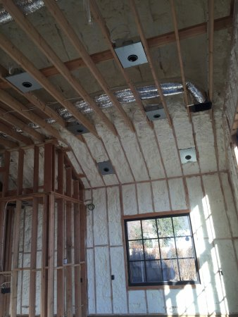 spray foam after application in the interior of a home