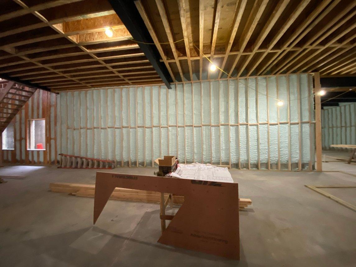 closed-cell spray foam application in Lloyd Harbor basement