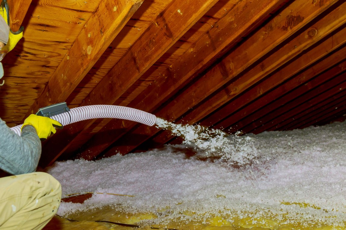 application of loose fill insulation