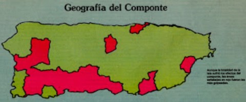 Map of where El Componte was carried out.