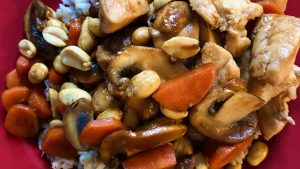 Qi deficiency chicken and mushroom stir fry rice finished dish