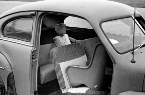 First rearward facing child safety seat prototype tested in a Volvo (PV 444)