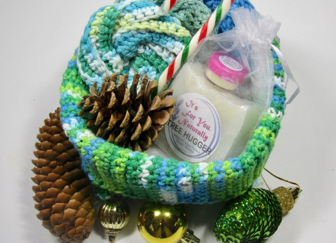 Green Blue xmas Gift box treehugger