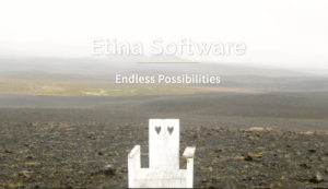 A white chair sitting all by itself in the Icelandic landscape. Etina software endless possibilites written overtop picture.