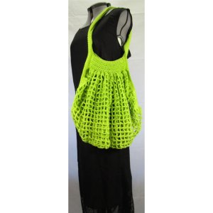 Lime Green Crochet Cotton French Market Bag