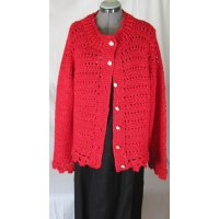 Red with Sparkle Crochet Long Sleeved Cardigan Sweater