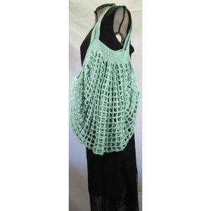 Teal Crochet Cotton French Market Bag