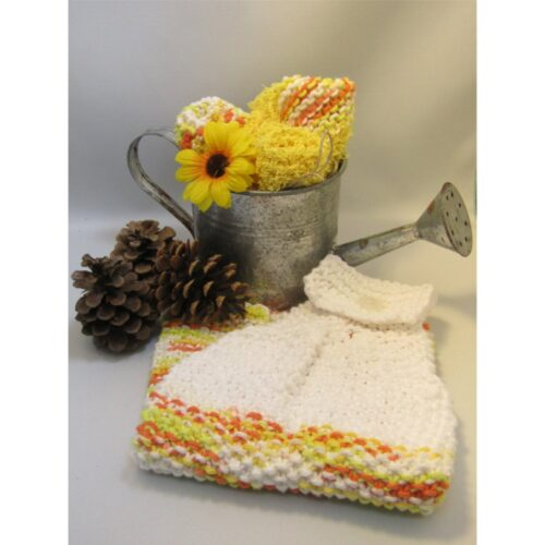 Yellow Orange and White Knit Cotton Towel set, includes towel, cloth and Half half cloth by Radical Homemaker