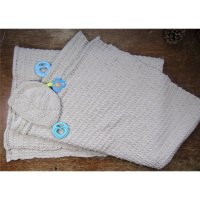 Natural White Cotton Woven Blanket and knit hat