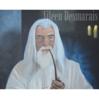 Painting of wizard LOTR Gandalf, oil on canvas