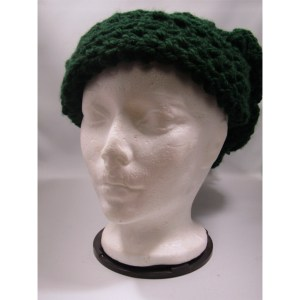 Green Slouchy Crochet Chunky Hat frontview