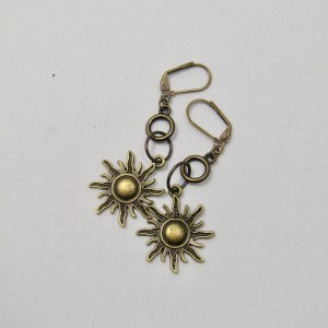 Bronze coloured sun dangling earrings