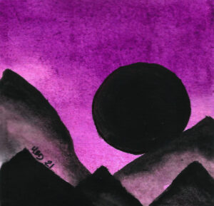 Watercolour black moon and mountain silouettes in front of purple sky