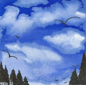 Watercolour blue sky with storm clouds and bird silouettes