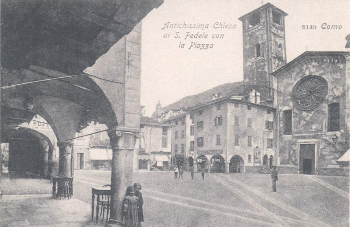 La piazza di Como in una stampa d'epoca.
